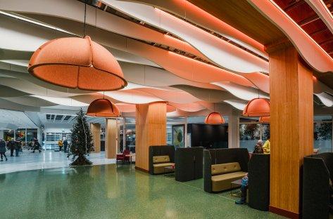 Bilder av lydabsorbenter på Haukeland universitetssykehus